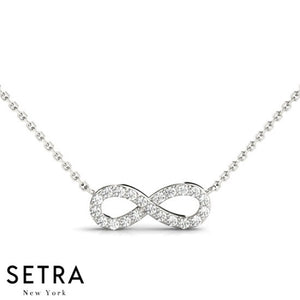 14K FINE GOLD INFINITY DIAMONDS NECKLACE