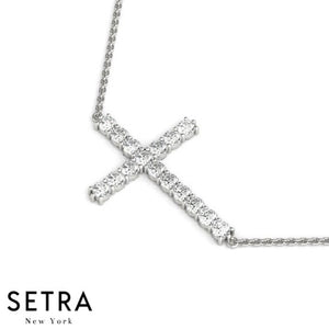 14K FINE GOLD HORIZONTAL CROSS DIAMONDS NECKLACE