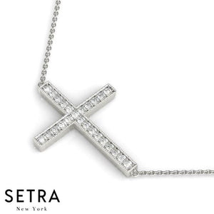MEN / WOMEN 14K FINE GOLD HORIZONTAL CROSS DIAMONDS NECKLACE