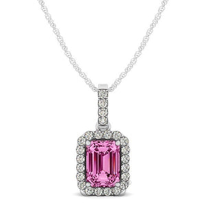 Vintage 18K Gold Round Cut Diamonds & Emerald Pink Sapphire In Halo Setting Necklace