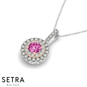 Vintage 14K Rose & White Gold Round Cut Diamonds & Pink Sapphire In Double Halo Necklace