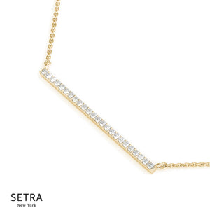 Diamond Stick Bar Gold Necklace