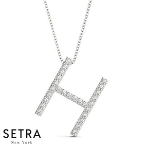 14kt Fine Gold Diamond Initials H Micro-Pave Setting Necklace