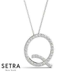 14kt Fine Gold Diamond Initials Q Micro-Pave Setting Necklace