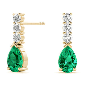Pear Shape Gem Emerald & Round Cut Diamonds Hanging Earring 14kt Gold