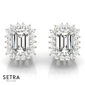 Stud Earrings Emerald Cut Diamond 14kt Gold