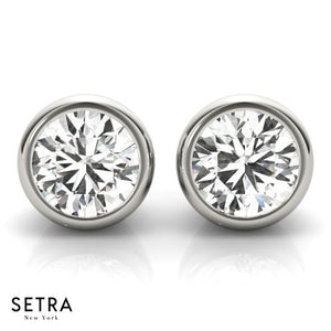 Round Cut Diamonds Studs Earrings Bezel Setting Fine 14k Gold