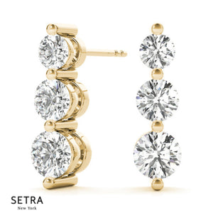 Graduated Diamond Earrings 14kt Gold