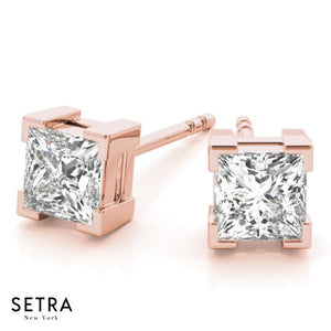 Princess Cut Diamonds Studs Earrings Fine 14k Gold Designer Setting