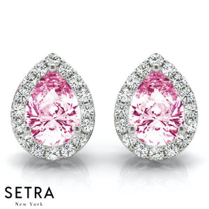 ROSE SAPPHIRE PEAR SHAPE & ROUND CUT DIAMONDS HALO STUD EARRING 14K GOLD