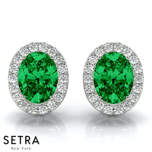 GREEN EMERALD OVAL SHAPE & ROUND CUT DIAMONDS HALO STUD EARRING 14K GOLD