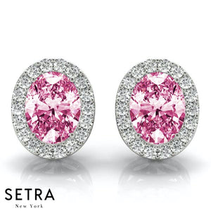 PINK SAPPHIRE OVAL SHAPE & ROUND CUT DIAMONDS HALO STUD EARRING 14K GOLD