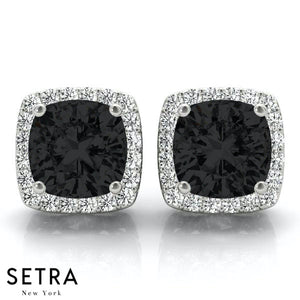 BLACK & WIITE CUSHION SHAPE & ROUND CUT DIAMONDS HALO STUD EARRING 14K GOLD