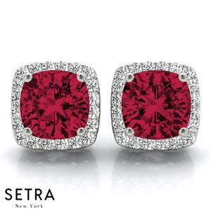 RUBY CUSHION SHAPE & ROUND CUT DIAMONDS HALO STUD EARRING 14K GOLD