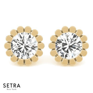 Round Cut Diamonds Studs Earrings Fine 14k Gold Designer Setting