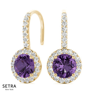 France Style Diamond & Amethyst Hanging 14kt Gold Earring