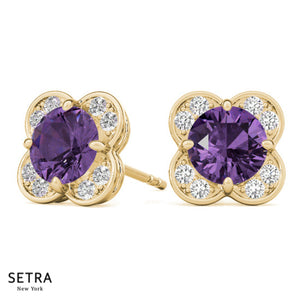 Flower Style Diamond & Amethyst Stud 14kt Gold Earring