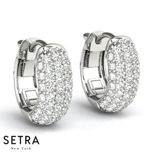 3 ROW MICRO PAVE SETTING PAIR OF HOOP EARRINGS VAULT LOCK 1.00CT 14K GOLD