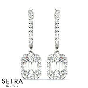 14K FINE GOLD HALO CHANDELIER DIAMOND EARRINGS