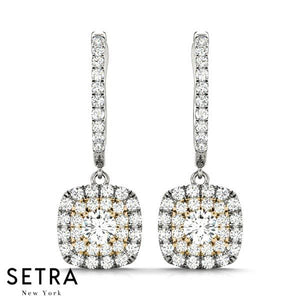 DOUBLE ROW HALO CHANDELIER DIAMOND EARRINGS 14K GOLD