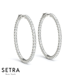 INSIDE-OUT DIAMONDS HOOP EARRINGS 35mm 14K GOLD