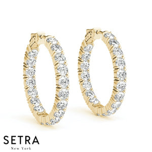 3.60ct INSIDE-OUT DIAMONDS HOOP EARRINGS 22mm 14K GOLD