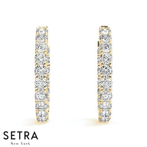 3.60ct INSIDE-OUT DIAMONDS HOOP EARRINGS 14K GOLD