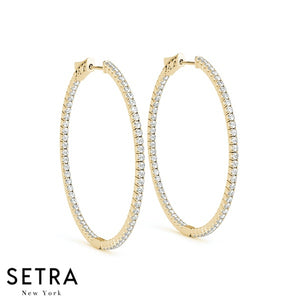 2.00ct INSIDE-OUT DIAMONDS PRONG SET HOOP EARRINGS 14K GOLD