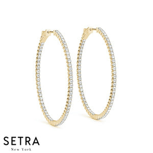 2.00ct INSIDE-OUT DIAMONDS OVAL HOOP EARRINGS 50mm 14K GOLD