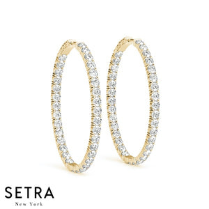2.20ct INSIDE-OUT DIAMONDS HOOP EARRINGS 35mm 14K GOLD