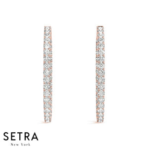 2.20ct Inside-Out Diamonds Hoop Oval Shape Earring 35mm 14K GOLD