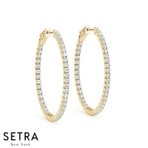 1.32ct INSIDE-OUT DIAMONDS OVAL HOOP EARRINGS 47mm 14K GOLD