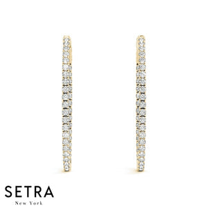 1.32ct Inside-Out Diamond Vault Lock Hoop Oval Shape Earrings 14K Gold