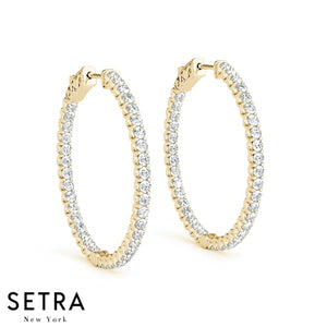 PRONG SET HOOP DIAMOND EARRINGS 30mm WITH STRONG VAULT LOCK 14K GOLD