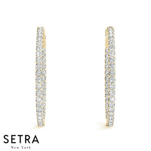 2.00ct Inside-Out Diamond Vault Lock Hoop Round Shape Earrings 14K Gold