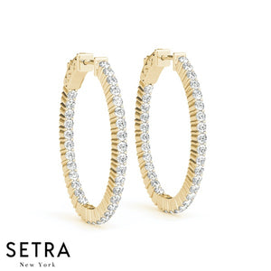3.00ct INSIDE-OUT DIAMONDS HOOP OVAL EARRINGS 33mm 14K GOLD