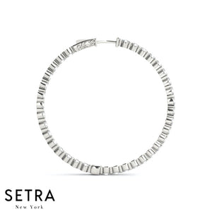 3.90ct INSIDE-OUT DIAMONDS HOOP EARRINGS 50mm 14K GOLD VAULT LOCK