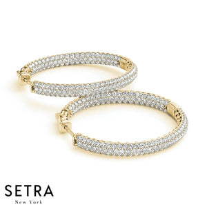 1.00ct DIAMONDS MICRO PAVE SET HOOP EARRINGS 22mm WITH STRONG VAULT LOCK 14K GOLD