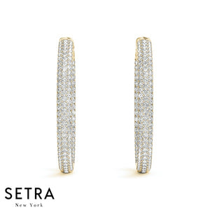 2.00ct DIAMONDS MICRO PAVE SET HOOP EARRINGS WITH STRONG VAULT LOCK 14K GOLD