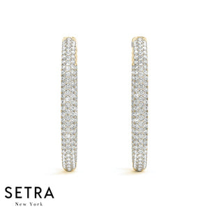 2.00ct INSIDE-OUT DIAMONDS OVAL HOOP MICRO PAVE SET EARRINGS 38mm 14K GOLD
