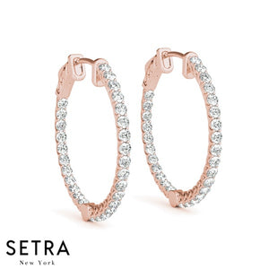 2.34ct INSIDE-OUT DIAMONDS VINTAGE STYLE HOOP EARRINGS 14K GOLD
