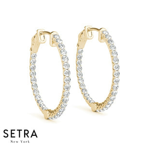 2.00ct INSIDE-OUT DIAMONDS VINTAGE STYLE HOOP EARRINGS 35mm 14K GOLD