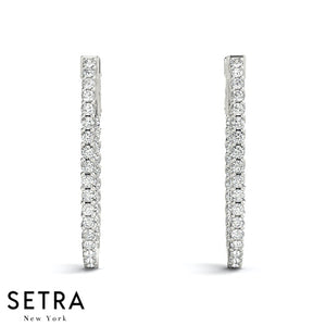 1.80ct INSIDE-OUT DIAMONDS HOOP OVAL VINTAGE EARRINGS 14K GOLD