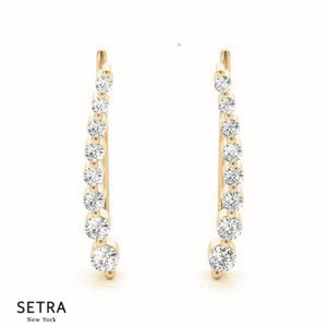 Right Or Left Side climber Diamond Single Pair Bezel Setting Earring 14k Gold