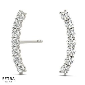 Right Or Left Sides climber Diamonds Single Pair Prong Setting Earring 14k Gold