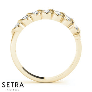 S-SETTING STYLE WEDDING BAND DIAMONDS RING 14K GOLD