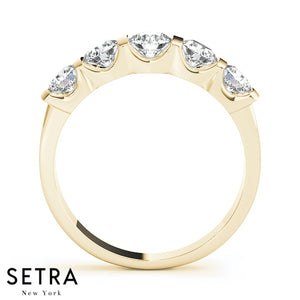 1.00 CT 5 STONE 14K GOLD DIAMONDS CHANNEL & BAR SET WEDDING BAND RING