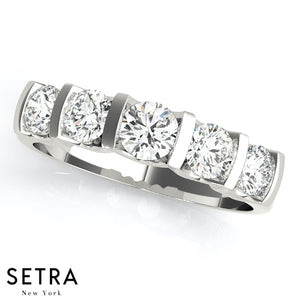 1.00 CT 5 STONE 14K GOLD ROUND CUT DIAMONDS CHANNEL & BAR SET WEDDING BAND RING
