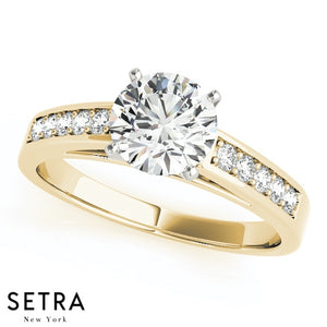 MATCHING SET OF DIAMOND ENGAGEMENT & WEDDNG BAND RINGS SINGLE ROW 14K GOLD