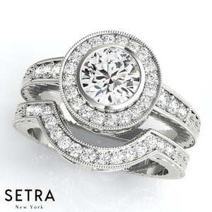 Vera Round Milgrain Halo Engagement Ring